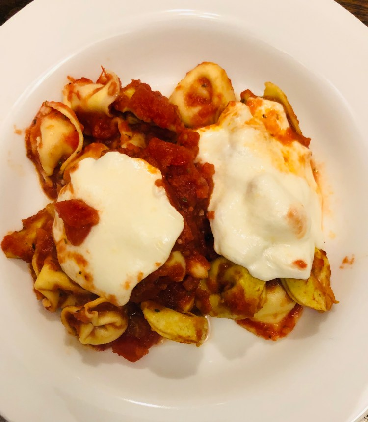 Oven Baked Mozzarella Topped Tortellini
