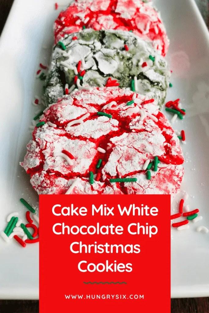 Cake Mix White Chocolate Chip Christmas Cookies Pin