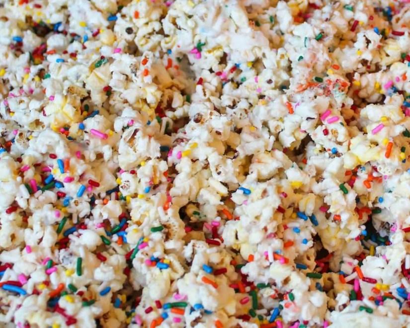 White Chocolate Funfetti Popcorn