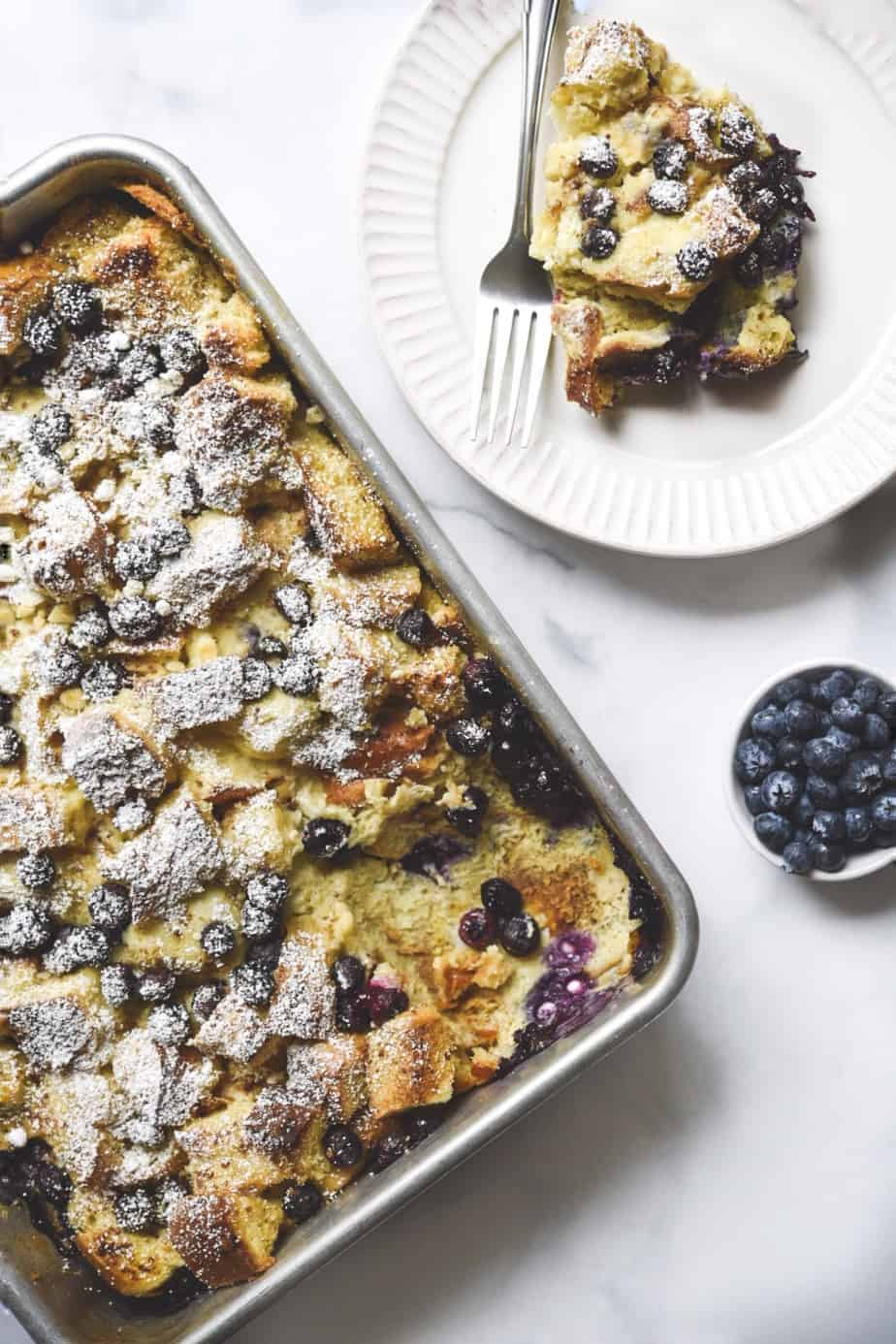 Easy Challah Mascarpone Blueberry French Toast Casserole