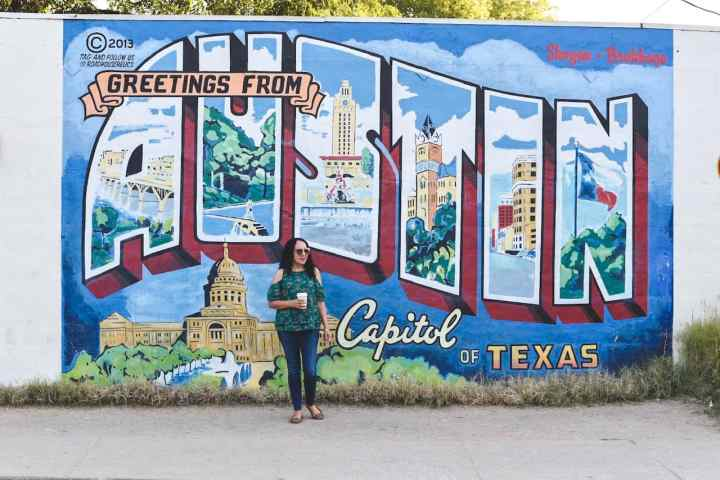 Greetings from Austin Mural with directions