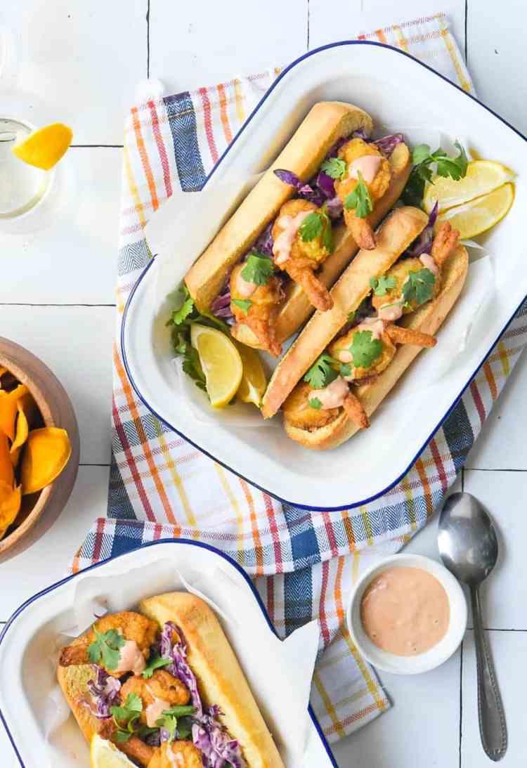 Shrimp Sandwich with Spicy Creamy Coleslaw
