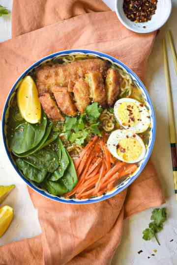 Easy Instant Ramen Noodle Soup with Beer Battered Fish