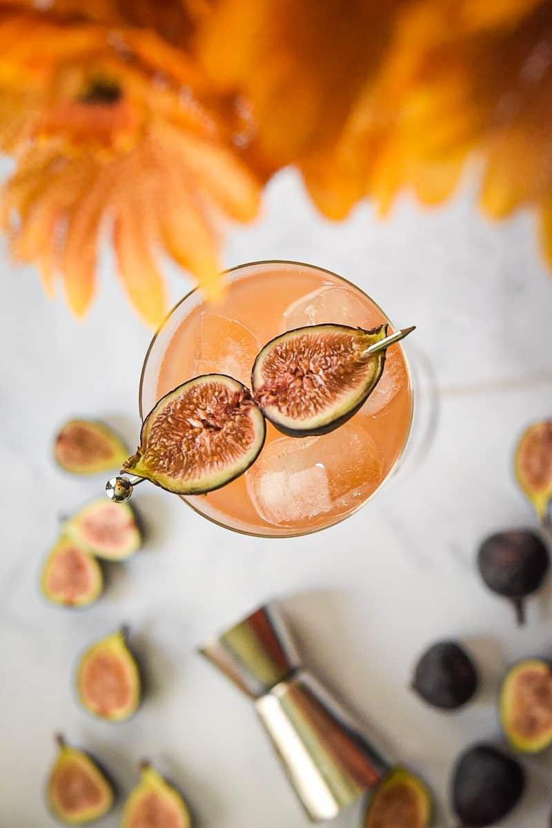 fig apple cider bourbon smash