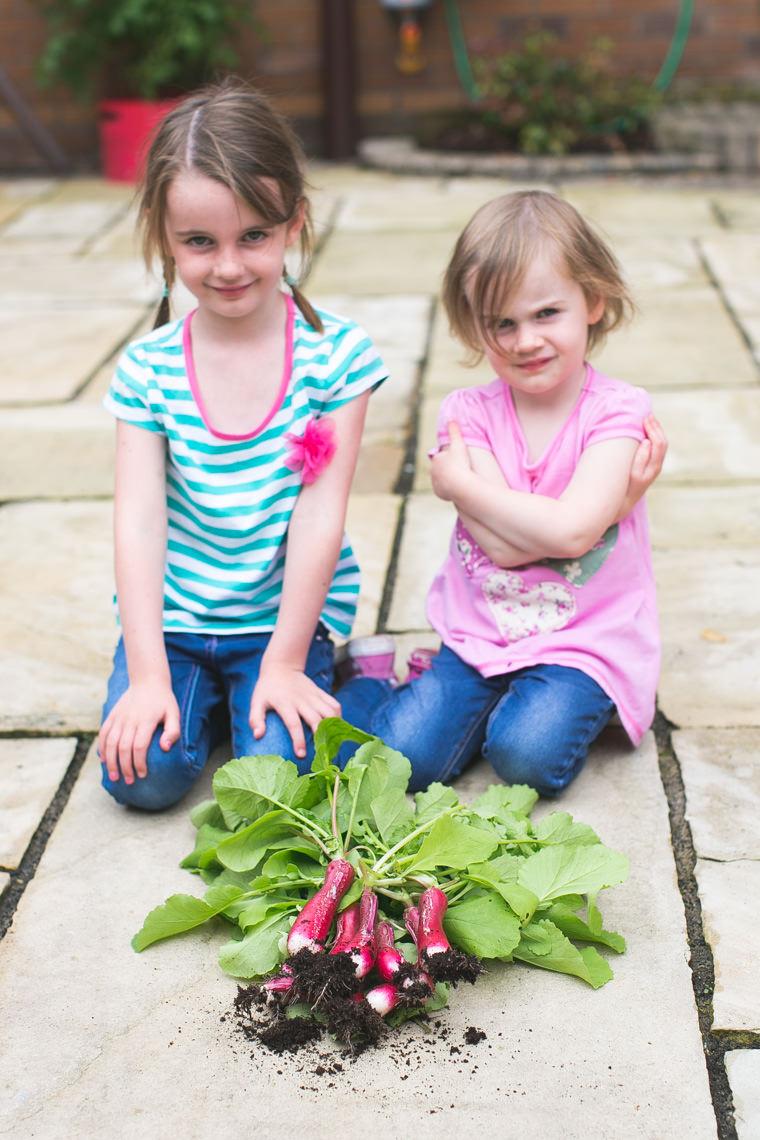 Poppy & Heidi with their radishes