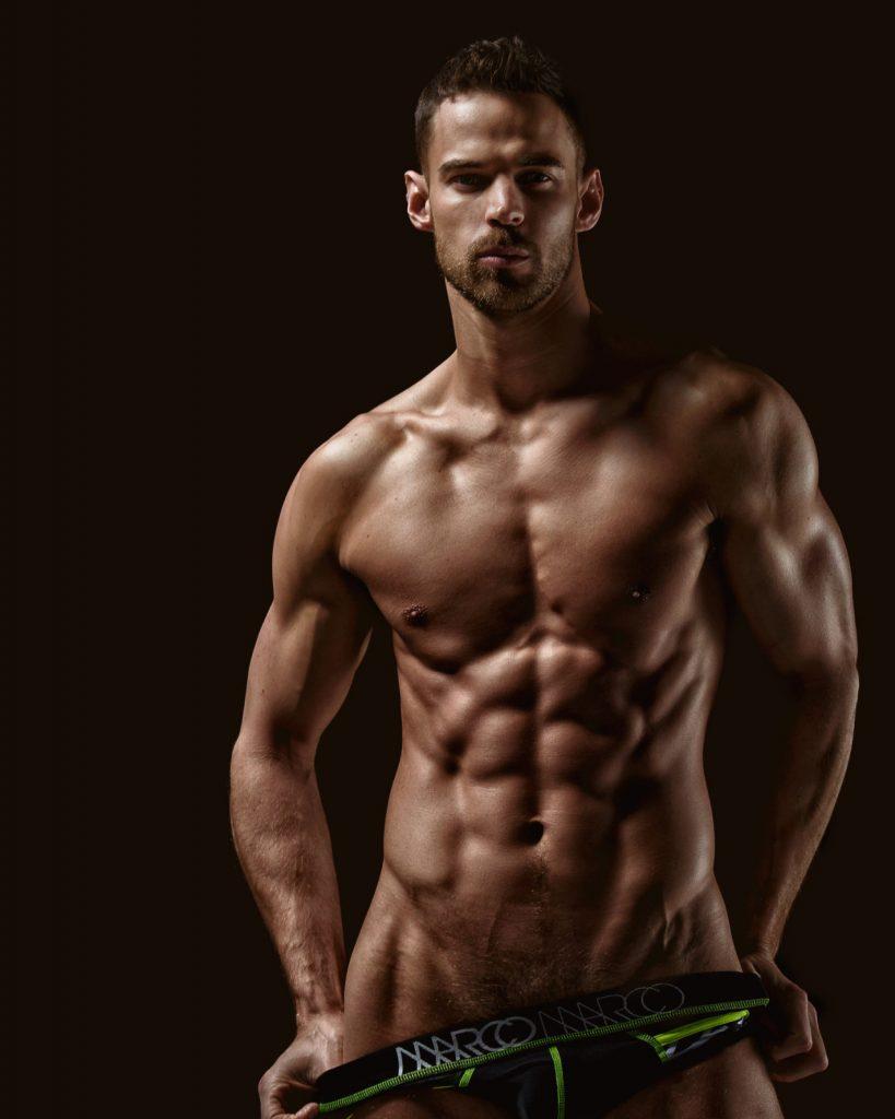 Ripped jock model Thom Panto in a shoot by Scott Cushman