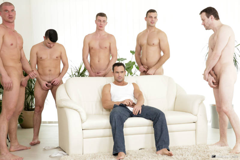 Men wanking together in a bukkake video