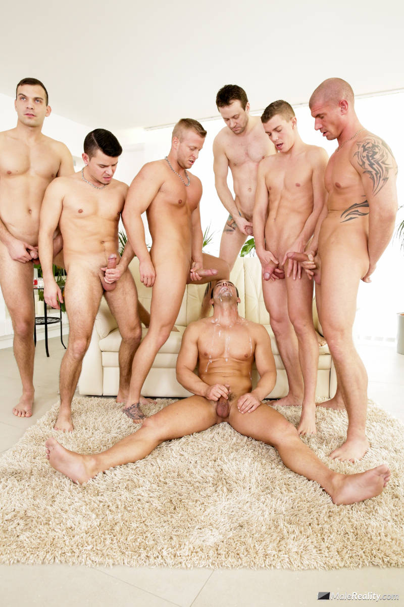 men wanking off over a handsome hunk