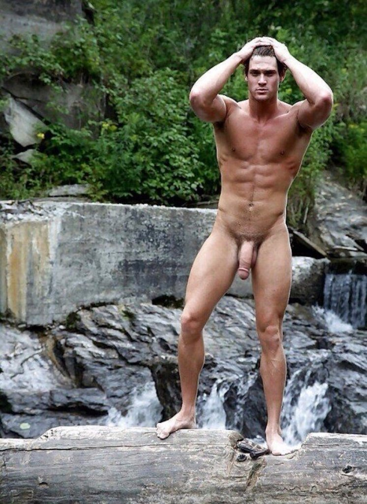 hung naked muscle jock naked in the stream