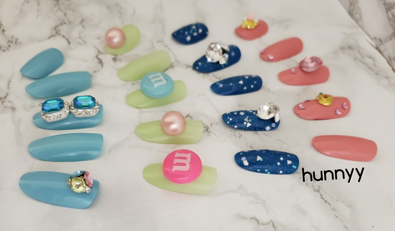 Hunnyy Nail Design Batch #2! 3D Diamond korean nail art stones