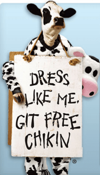 Chikafila Cow FREE Meal at Chick fil A For Dressing Up Like a Cow on July 12th