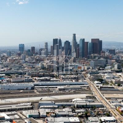 DTLA Skyline Aerial w/ Arts District & LA River – Hunter Kerhart | Los Angeles Architectural Photographer