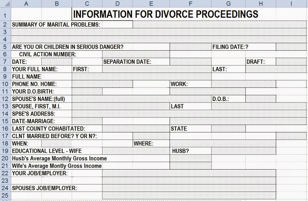 Distribution Worksheets – Divorce Property Division Worksheet