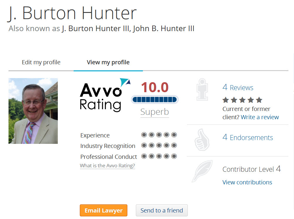 J. Burton Hunter III Avvo.com rating.