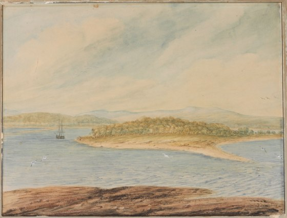"""Coal River, N.S. Wales 1807"" by I.W. Lewin.Courtesy of the State Library of NSW"