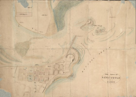 The Town of Newcastle and its Harbour in 1844 (Courtesy of the National Library of Australia NLA F72 1844)