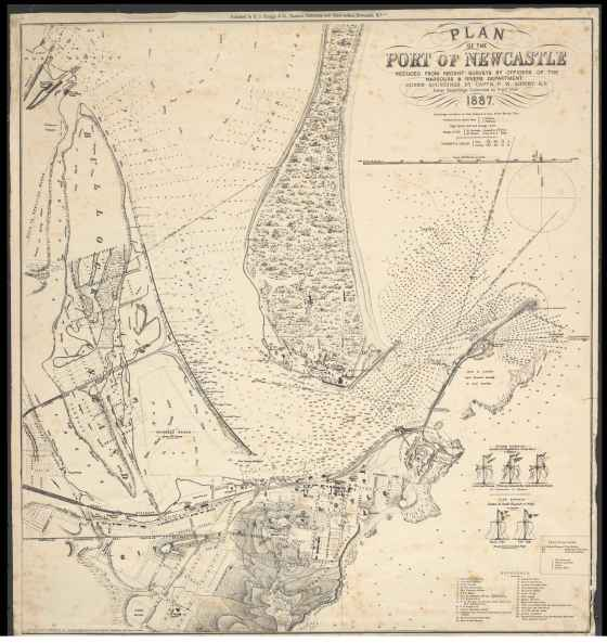 Plan of the Port of Newcastle: reduced from recent surveys by officers of the Harbours & Rivers Department ; outer soundings by Captn. F.W. Sidney, R.N. ; inner soundings corrected to June 1879 / Lithographed by Forster & Co., 2 Crow Street, Dublin, Ireland. Courtesy of the National Library of Australia