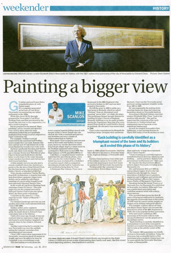 """Painting a bigger view"" by Mike Scanlon. NH 20 July 2013 p.14"