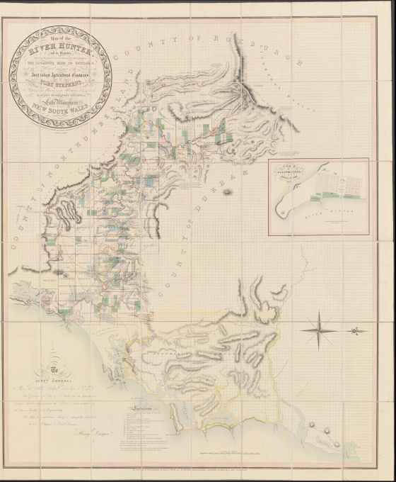 Map of the River Hunter, and its branches [cartographic material] : shewing the Lands reserved thereon for Church purposes, the Locations made to Settlers, and the Settlement and part of the Lands of the Australian Agricultural Company at Port Stephens together with the Station of the Mission to the Aborigines belonging to the London Missionary Society on Lake Macquarie, New South Wales 1828. MAP NK 646. (Courtesy of the National Library of Australia)