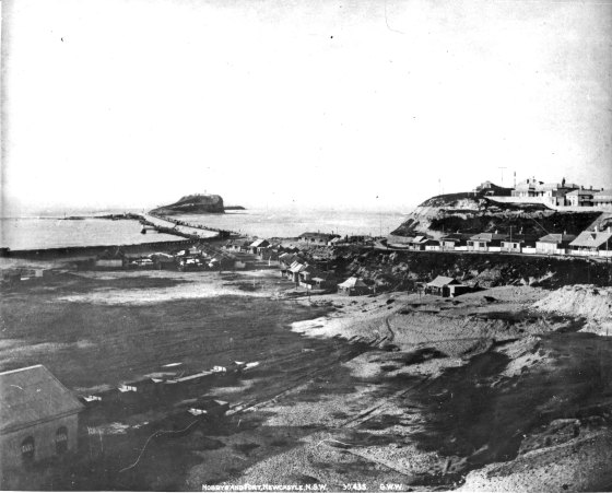 Nobbys, Macquarie Pier and the Fort Scratchley circa 1900 (Courtesy of Ann Hardy)