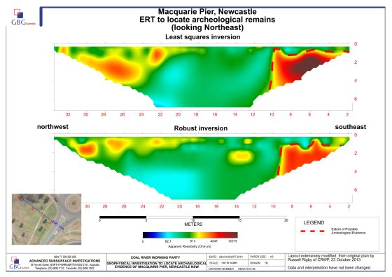 Results from the electrical resistivity tomography (ERT) on Macquarie Pier (Courtesy of GBG Australia and Russell Rigby)