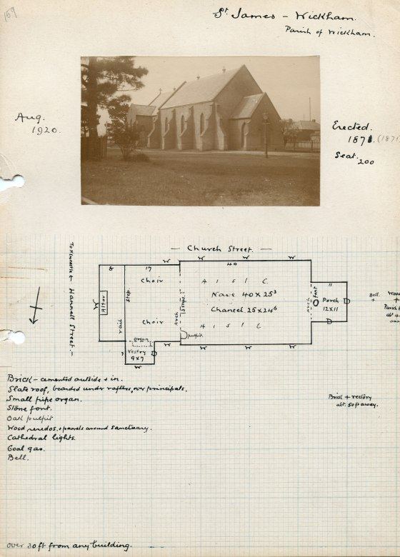 Photograph and Floor Plan of the former St James' Church Wickham (Courtesy of Anglican Diocese Archivesm Cultural Collections (UoNCC)
