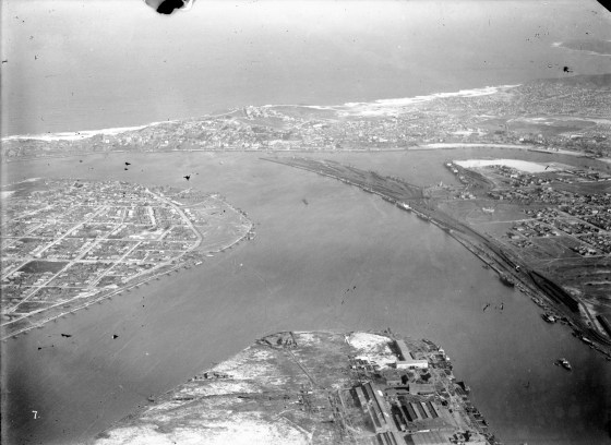 Newcastle, Port Hunter, Stockton, Walsh Island, The Dyke, Carrington, The Basin, Bullock Island, Throsby Creek. (Photograph by Milton Kent Airplane Photographs, Sydney. Southern No. 57.3.-.7.1930.S.jpg)