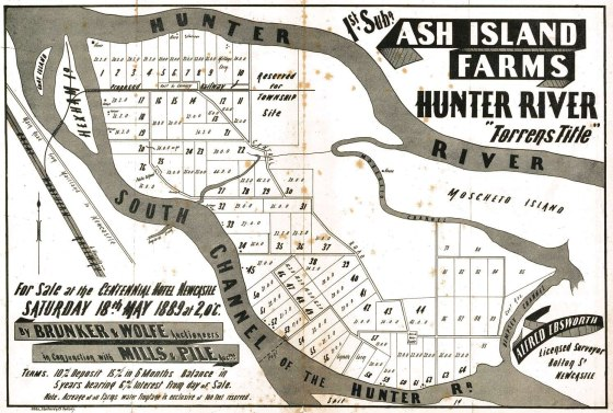 "18th May 1889 Ash Island Farms Hunter River Poster showing ""home"". (Courtesy of Hunter Photobank)"