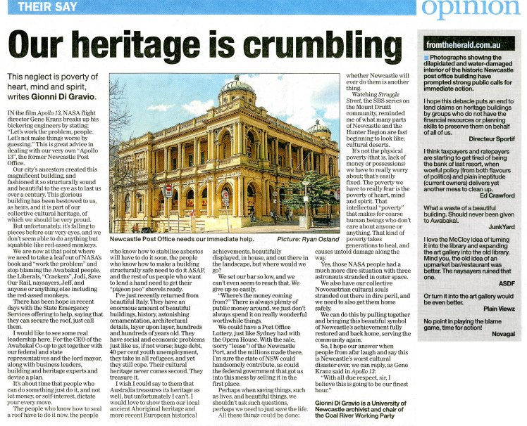 Opinion: Our Heritage Is Crumbling by Gionni Di Gravio, Newcastle Herald, 20th May 2015 p.11