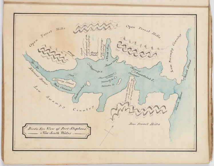 Bird's Eye View of Port Stephens, New South Wales [1826] by H.T. Ebsworth (Courtesy of the State Library of NSW)
