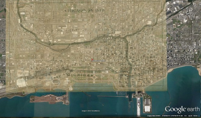 Overlay of 1812 Chicago Map on Google Earth