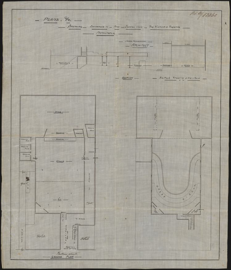 Plans Etc Showing Entrances To And Escapes From The Victoria Theatre Newcastle, James Henderson Architect (Courtesy of State Records NSW)