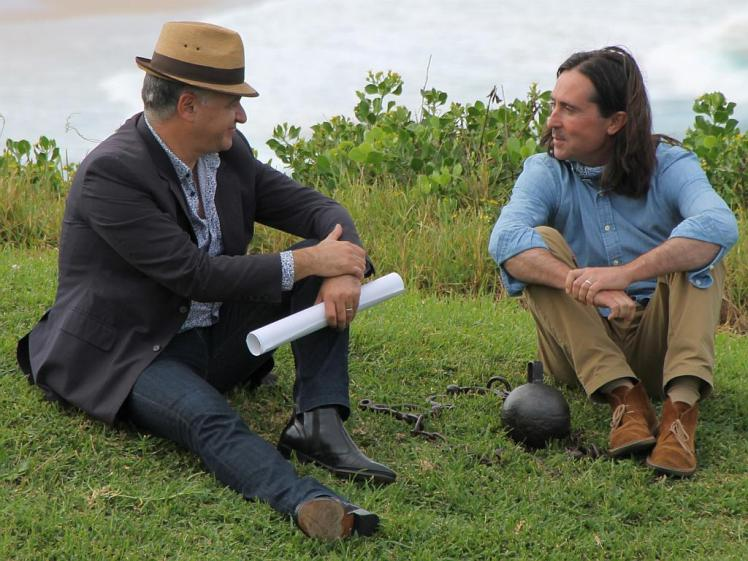 Gionni Di Gravio with Coast presenter Neil Oliver discussing the convict era coal mines of Newcastle 14 April 2016 [Photo Credit: Russell Rigby]