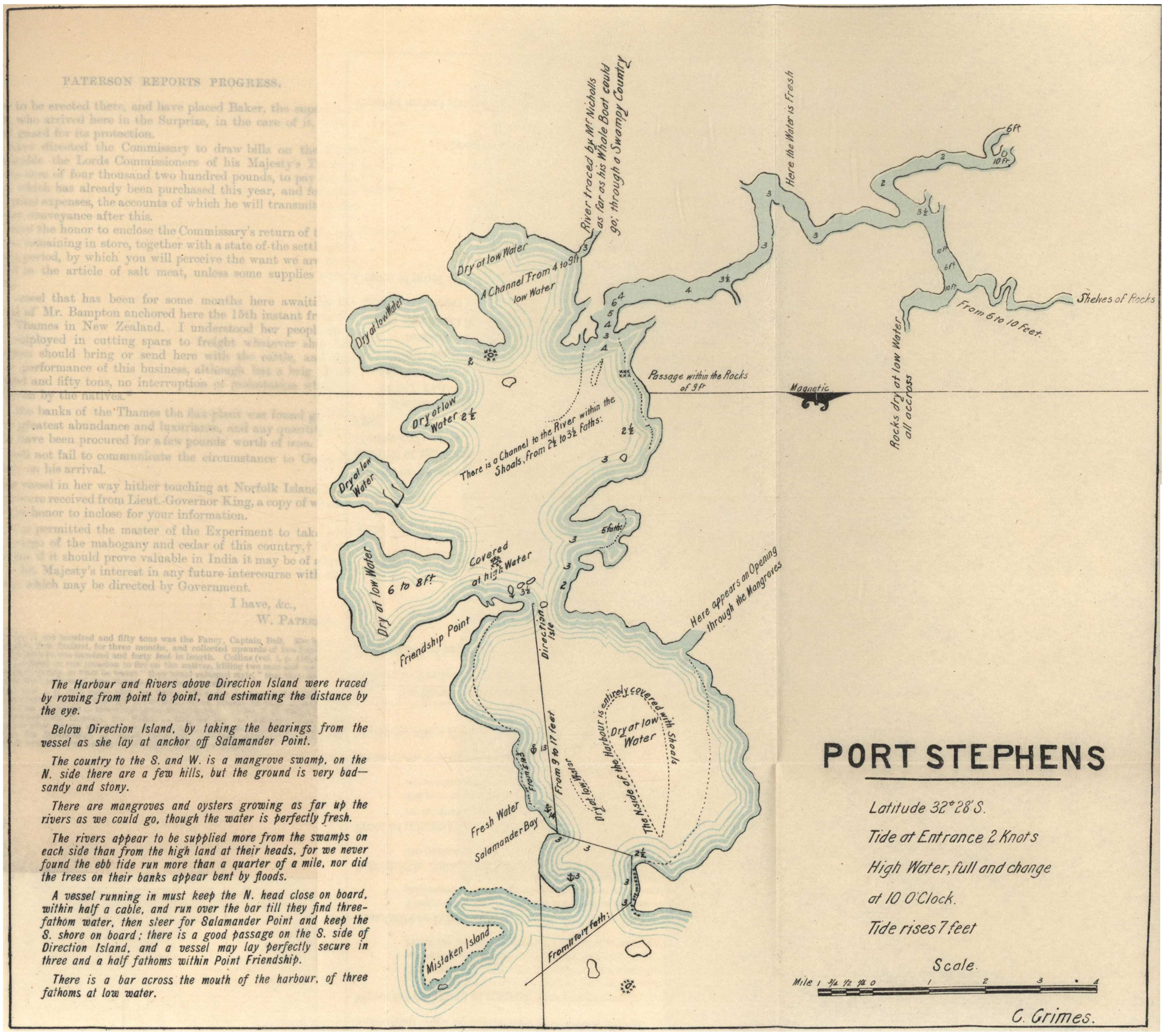 Port Stephens as it looked on 16th March 1795 – Hunter