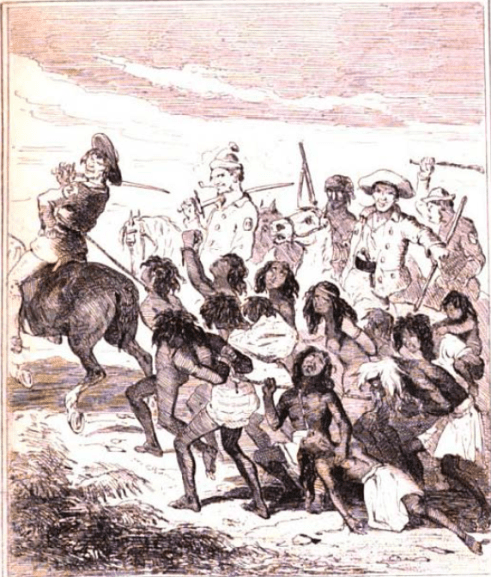 """Australian Aborigines Slaughtered by Convicts"" (Phiz, The book of remarkable trials … , 1840, between 526,527; Chronicles of Crime V. II, 1841 , between 472,473)."