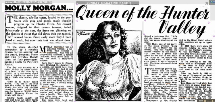 Image 12. Frank Driscoll, 'Molly Morgan … Queen of the Hunter Valley', Truth, 14 January 1951, 31. Read the Complete Article in TROVE