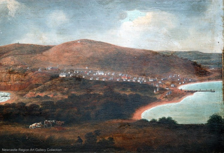 Image 7. Joseph Lycett's 'Newcastle, New South Wales, looking towards Prospect Hill' c.1816-1818. https://downloads.newcastle.edu.au/library/cultural%20collections/images/Lycett1816detail3.jpg