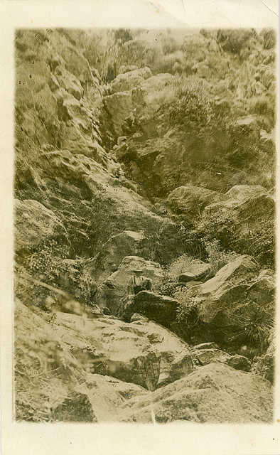 Waterfall near Moonan Flat. Postcard sent by Evelyn Simpson, Moonan Flat, to Mr F.R. (Francis Richard) Moore, Public School, Wyong, NSW, 7 Oct [1906]