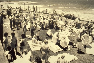 Evacuated Patients from Royal Newcaslte Hospital congregate along the beach