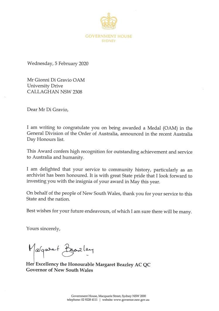 OAM - Letter Govenor NSW