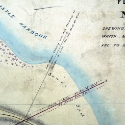 "Detail - Plan of Flag Staff Hill Newcastle (1856) By P. Francis Adams ""Transmitted to the Surveyor General with my letter and description on 2nd April 1856. Photographed by Bruce Turnbull. Archives Authority Map No. 4604 (Courtesy of State Archives of NSW)"