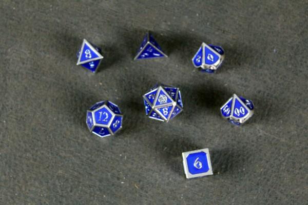 Blue Enamel Metal Dice