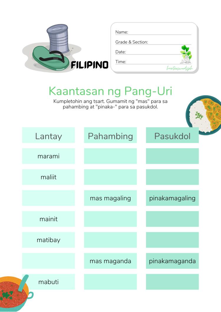 HuntersWoodsPH Kaantasan ng Pang-Uri Quiz for Grade 3