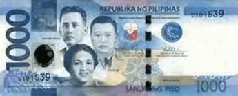Philippine Money 1000 Peso Bill