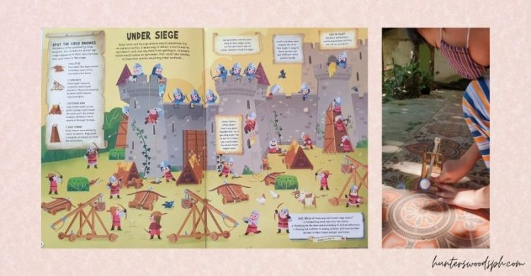 HuntersWoodsPH Montessori Homeschooling Educational Sticker Book Medieval Castle Catapult