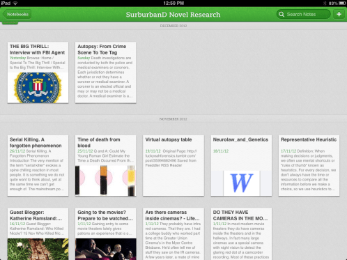 Evernote (iPAD) app - for overall research - Notebook for relevant research