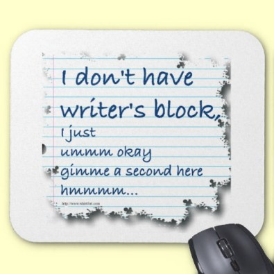 Writer's Block Excuses mouse mat via Zazzle http://www.zazzle.com/writing_is_sexy_shirts-235195739363883314