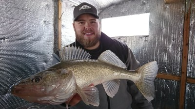 ice fishing walleye on Lake Dauphin