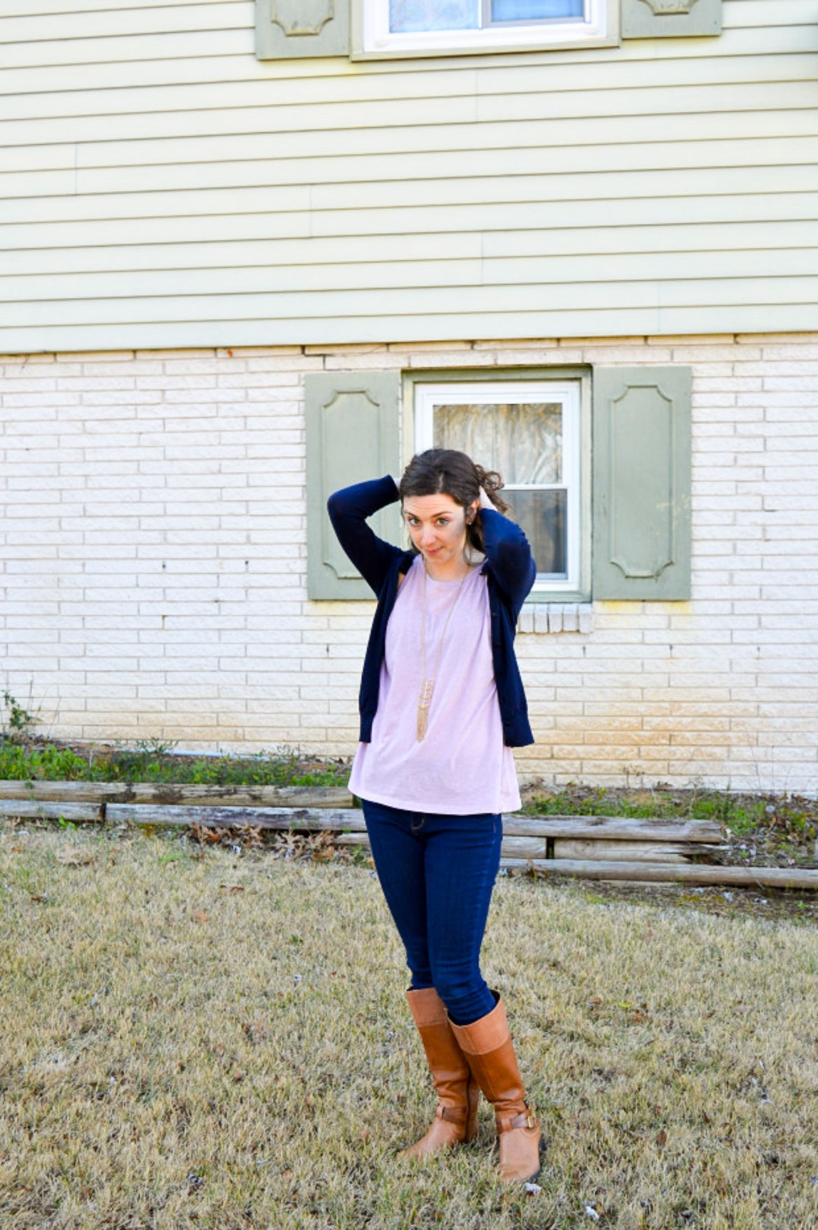 Purple tank top + Navy cardigan \\ classic fall outfit ideas on Hunting for Pink Flamingos