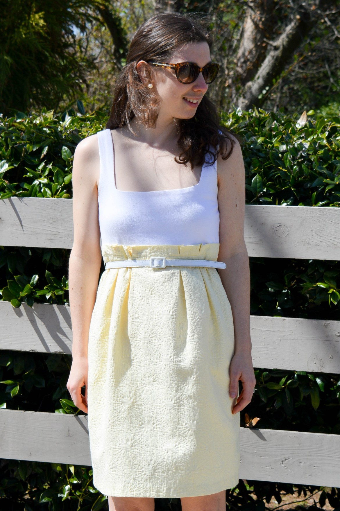 Yellow and white dress (that looks like a top and skirt)